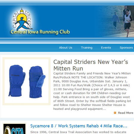 Website/Blog designed for Capital Striders