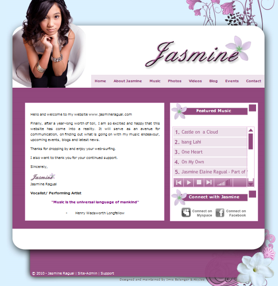 Music Portfolio Website design for Jasmine Ragual