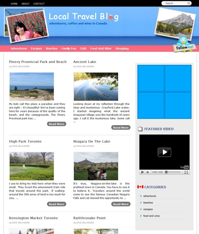 Local Travel Blog Design on Thesis WordPress Theme