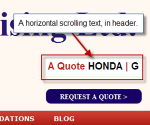Add Scrolling text in header
