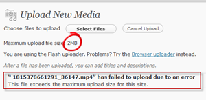 Error increase upload media file size limit in WordPress