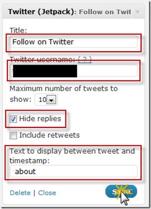 Configure Twitter Widget Sidebar