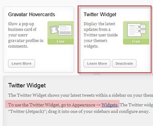 Jetpack plugin twitter widget