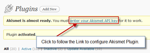 step1-configure akismet plugin on wordpress