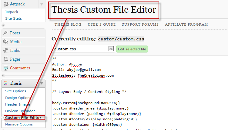 Thesis theme custom