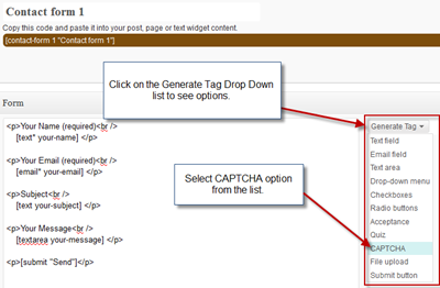 Generate CAPTCHA Tag for Contact Form