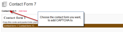 Select Contact Form To add CAPTCHA
