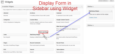 Display MailChimp Form in Sidebar
