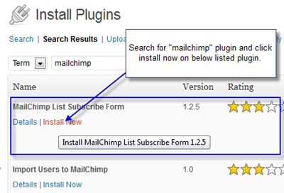 MailChimp Install Plugin thumb Easy way to add MailChimp Subscription Form on WordPress Blog