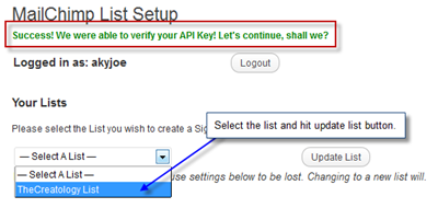 Valid MailChimp API Key Message thumb Easy way to add MailChimp Subscription Form on WordPress Blog