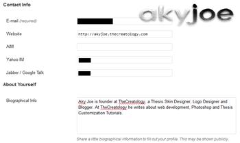 wordpress admin default contact details