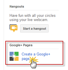 create new google plus page