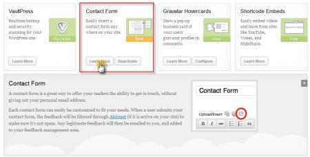 Contact Form Jetpack Plugin Update
