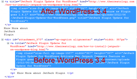 Markup Difference in WP 3 4 450x261 Image Caption Box Alignment Problem after WordPress 3.4 Update [With Thesis Fix]