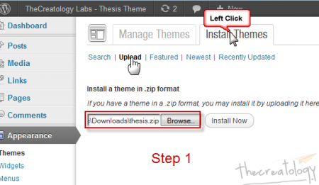 Step1 Upload Thesis 2 Theme 450x261 Hands on Thesis 2: How to Get Started with New Thesis Theme 2.0?