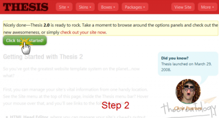 Step2 Thesis 2 Welcome Page Get Started 450x243 Hands on Thesis 2: How to Get Started with New Thesis Theme 2.0?